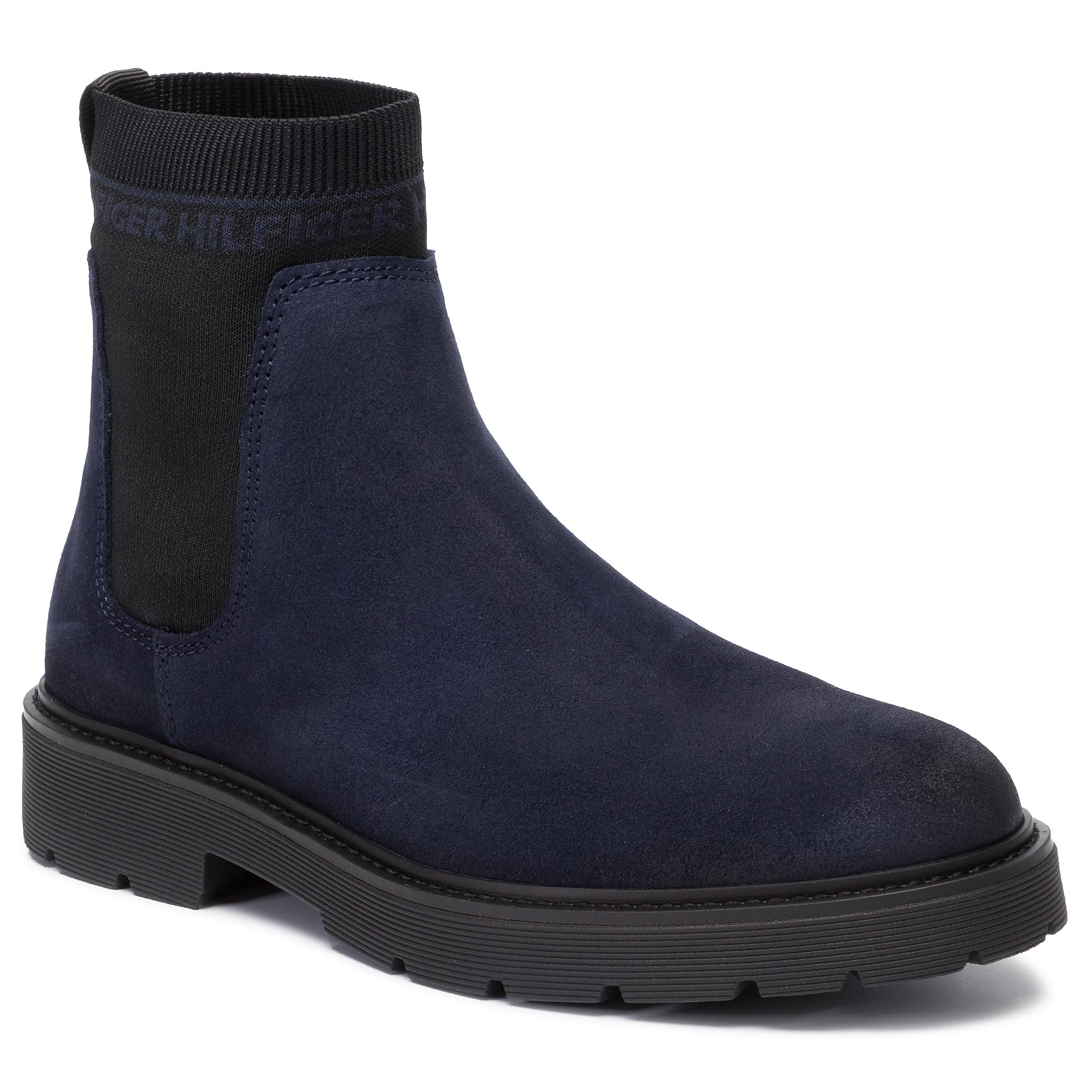 Ilgaauliai TOMMY HILFIGER - Suede Cleated Chelsea Boot FM0FM02532 Midnight CKI