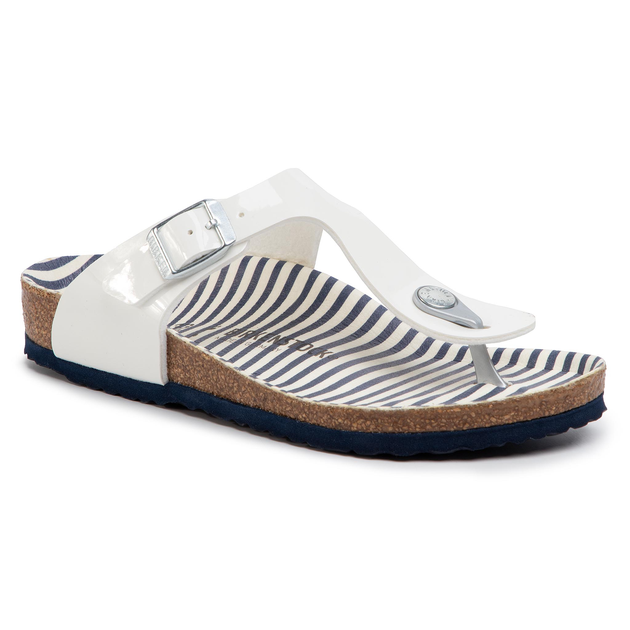 Šlepetės per pirštą BIRKENSTOCK - Gizeh Kids Bs 1012724 M Nautical Stripes White