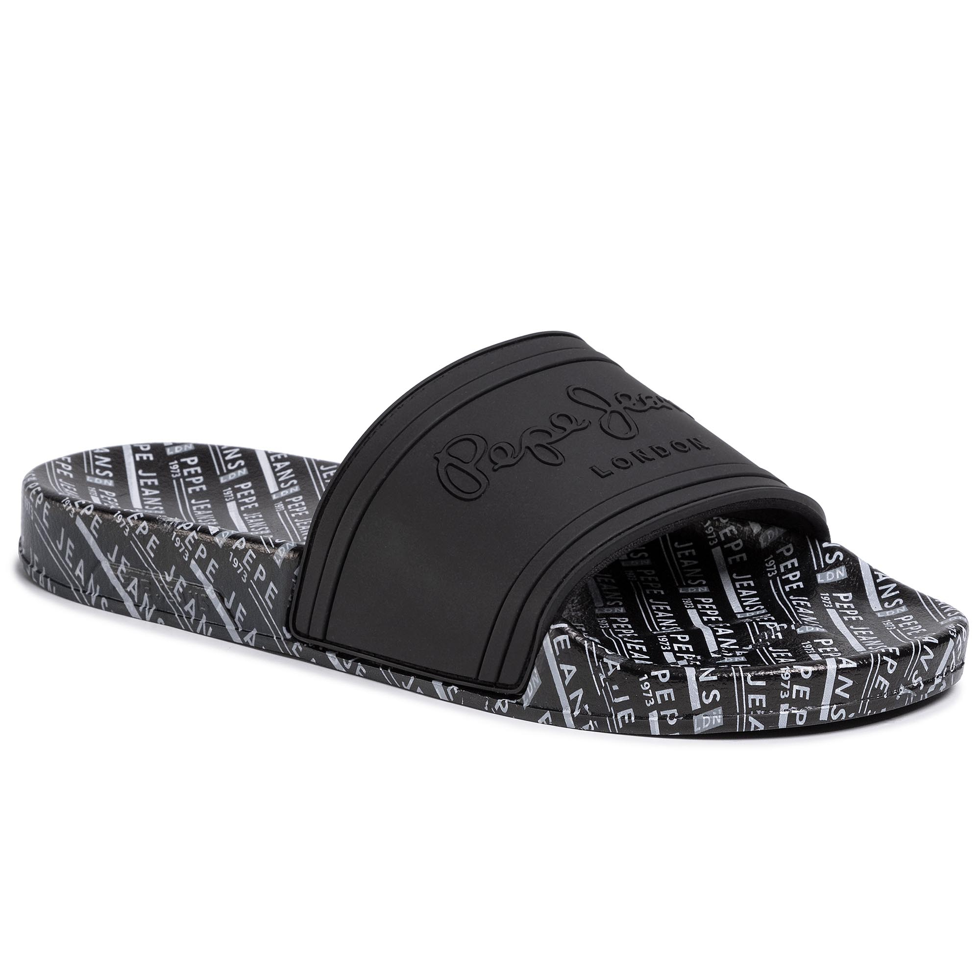 Klapki PEPE JEANS - Slider All Over Man PMS70082  Black 999