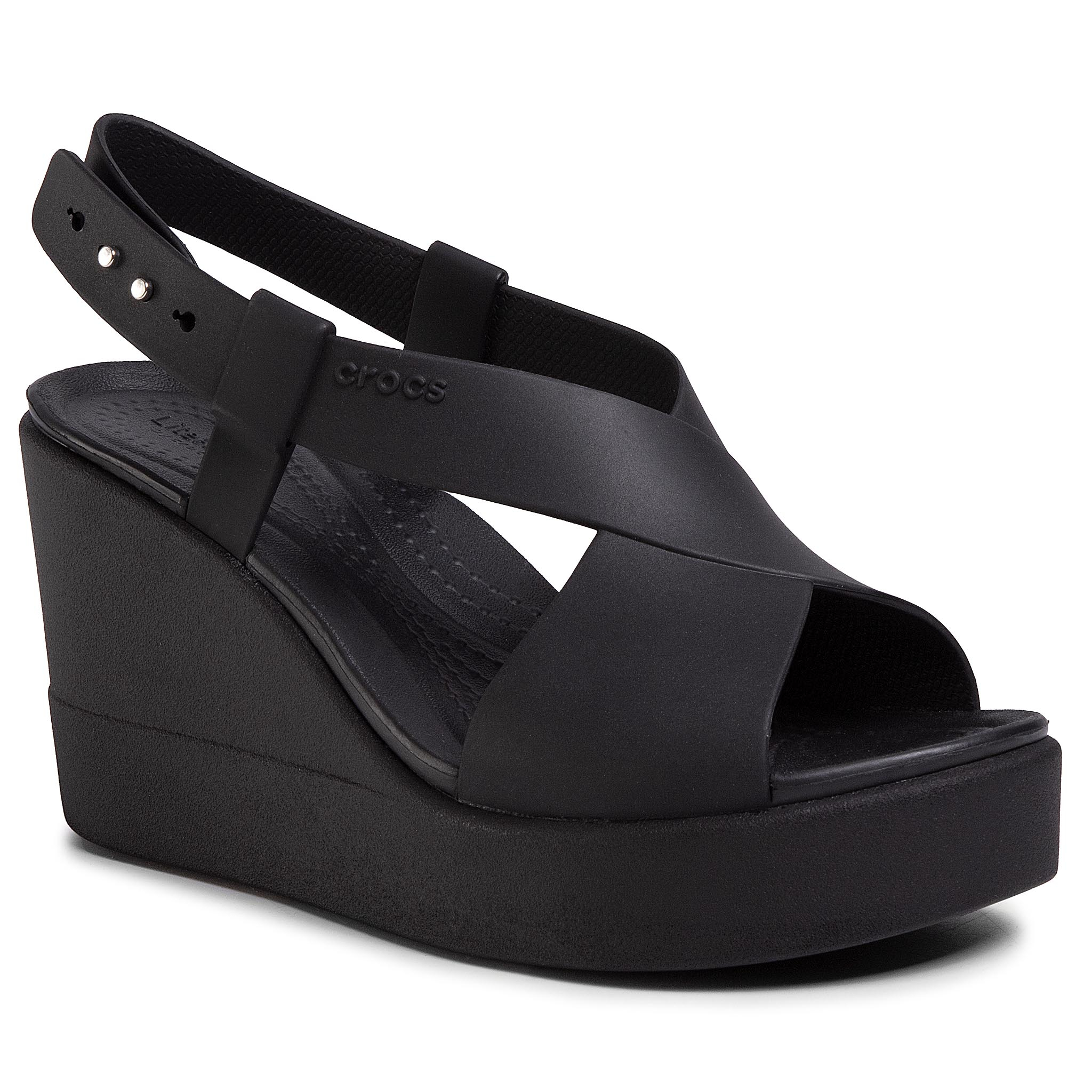 Sandały CROCS - Brooklyn High Wedge W 206222  Black/Black