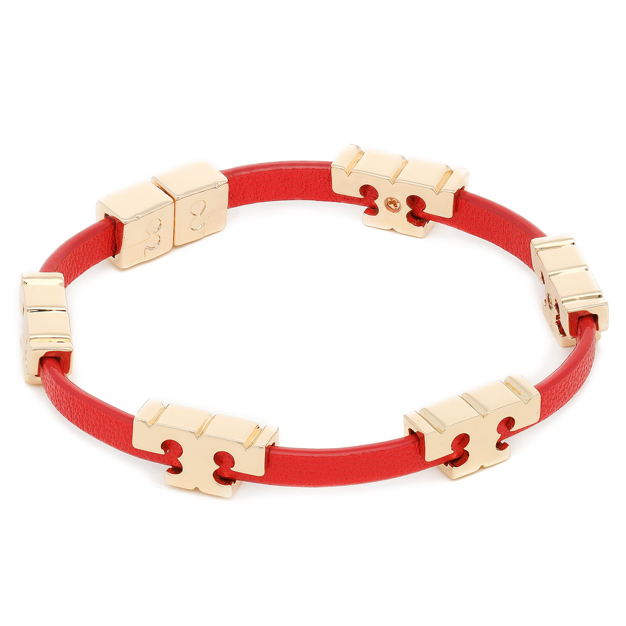 Apyrankė TORY BURCH - Serif-T Stackable Bracelet 78421 Tory Gold/Brilliant Red 600