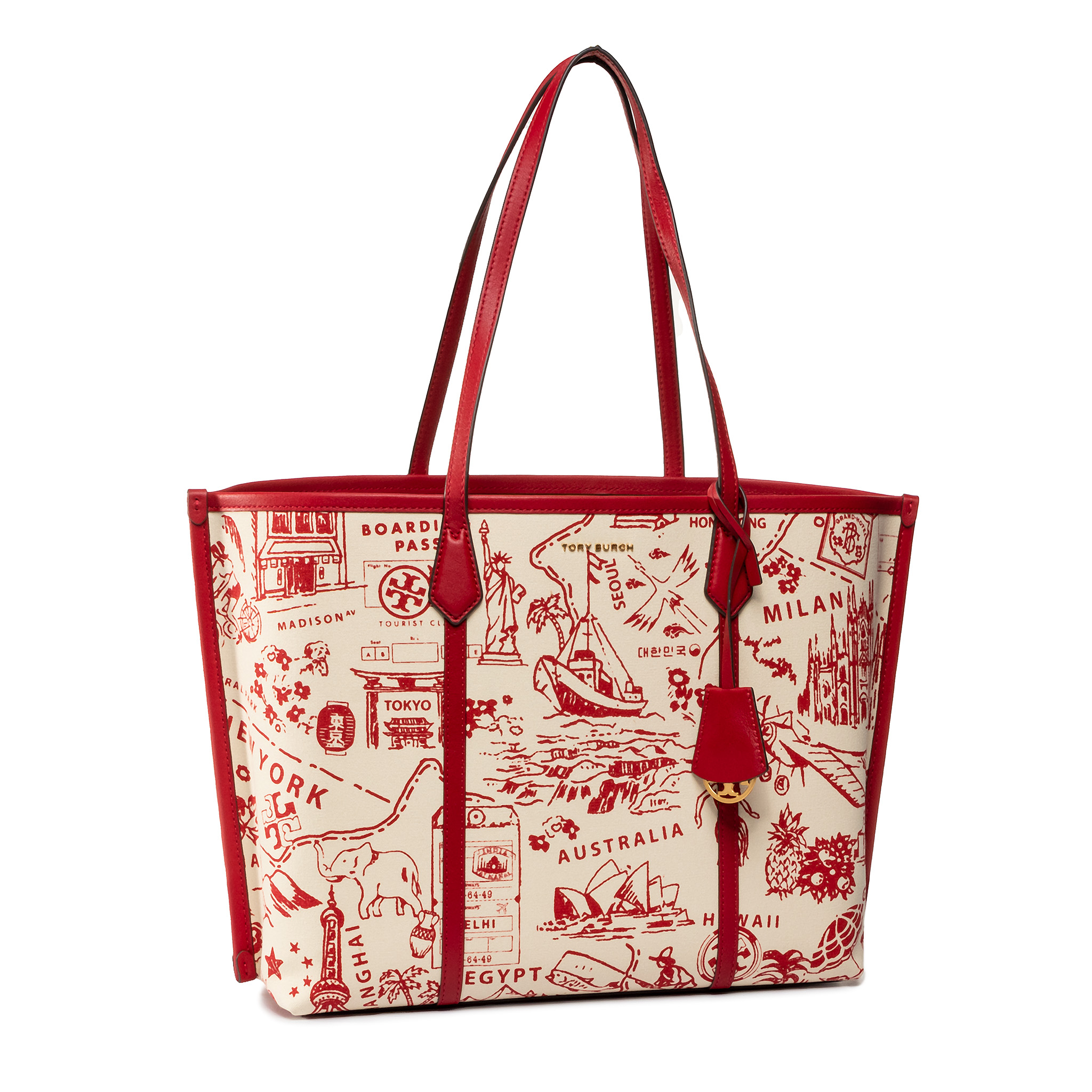 Torebka TORY BURCH - Perry Printed Canvas Triple-Compartment Tote 64486 Red Destination 920