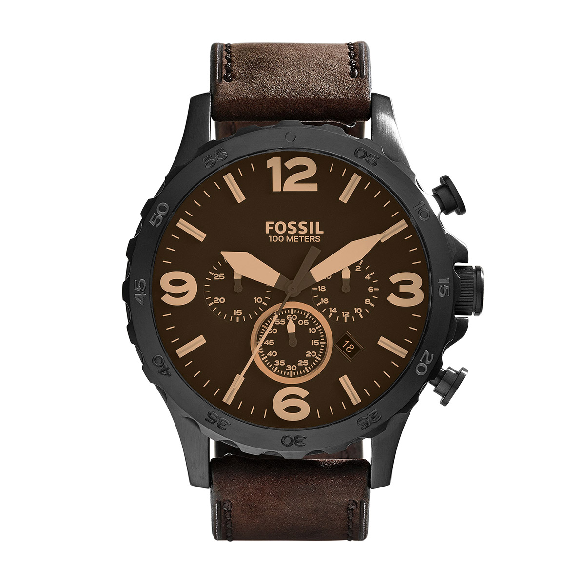 Laikrodis FOSSIL - Nate JR1487 Dark Brown/Black