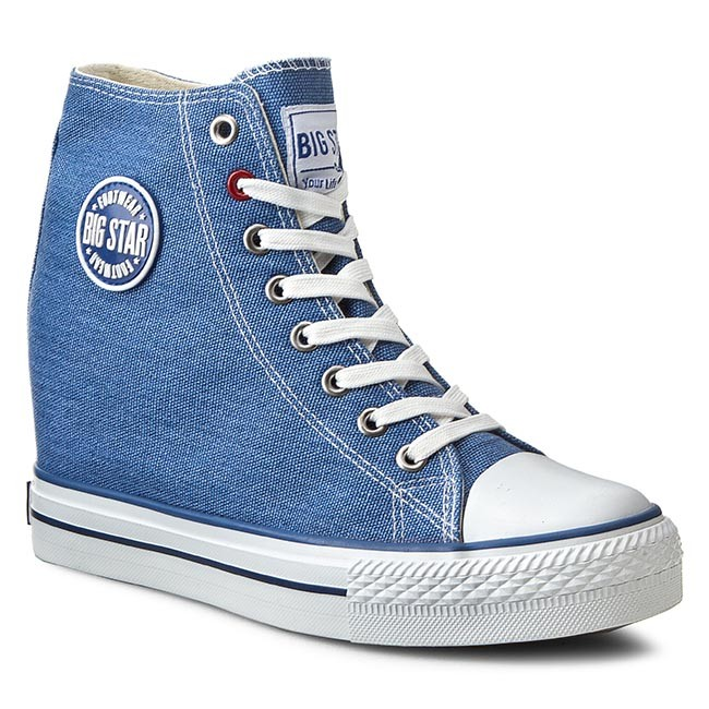 Sneakersy BIG STAR - U274901 Blue - Na koturnie - Półbuty - Damskie