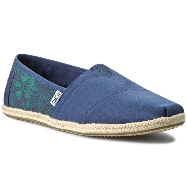 4461ea8a9f41a Espadryle TOMS - Classic 10008366 Navy Canvas Hibiscus Rope Sole ...