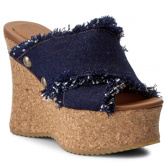 8c8be97e Klapki SEE BY CHLOÉ - SB28112 Fabric Denim/navy Cork/Cognac 518 ...