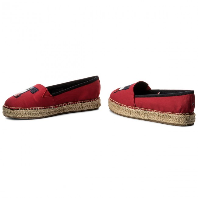45643a6e42608 Espadryle TOMMY HILFIGER - Th Sequins Espadrille FW0FW02412 Tango Red 611