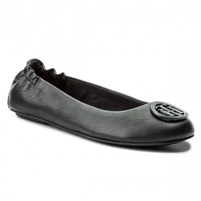 8edd11131e1de Baleriny TOMMY HILFIGER - Flexible Leather Ballerina FW0FW02810 Midnight 403