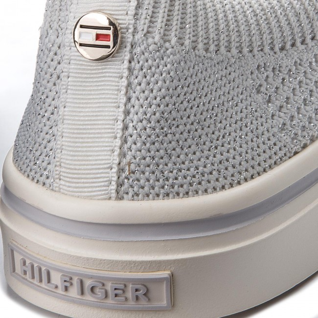 Tenisówki TOMMY HILFIGER - Knitted Light Weight Slip On FW0FW03361 White 100 13d7bc23c6e