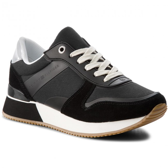 5636b44359e4 Sneakersy TOMMY HILFIGER - Mixed Material Lifestyle Sneaker FW0FW03011  Black 990