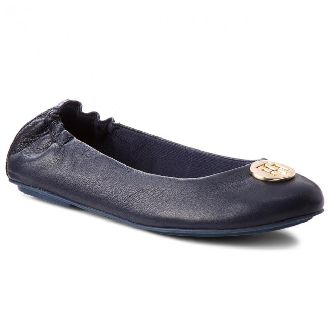 19a46921f6f81 Baleriny TOMMY HILFIGER - Flexible Ballerina Leather FW0FW03401 Tommy Navy  406