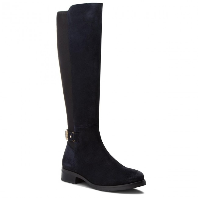 f86f75b90 Oficerki TOMMY HILFIGER - Th Buckle High Boot FW0FW03065 Midnight 403