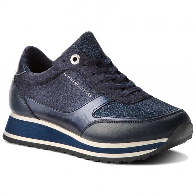 519f94eef0515 Sneakersy TOMMY HILFIGER - Metallic Retro Runner FW0FW03337 Midnight 403