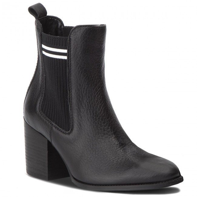 58021326df568 Botki TOMMY JEANS - Sock Mid Heel Chelse EN0EN00326 Black 990 ...