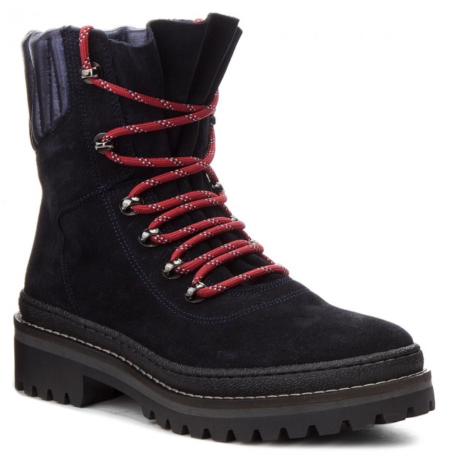 bd9973a20ce3d Trapery TOMMY HILFIGER - Modern Hiking Boot Suede FW0FW03048 Midnight 403