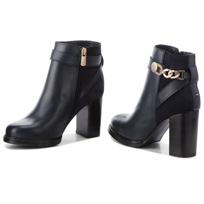 70d3a2a8d1f45 Botki TOMMY HILFIGER - Th Chain Heeled Boot FW0FW03449 Midnight 403 ...