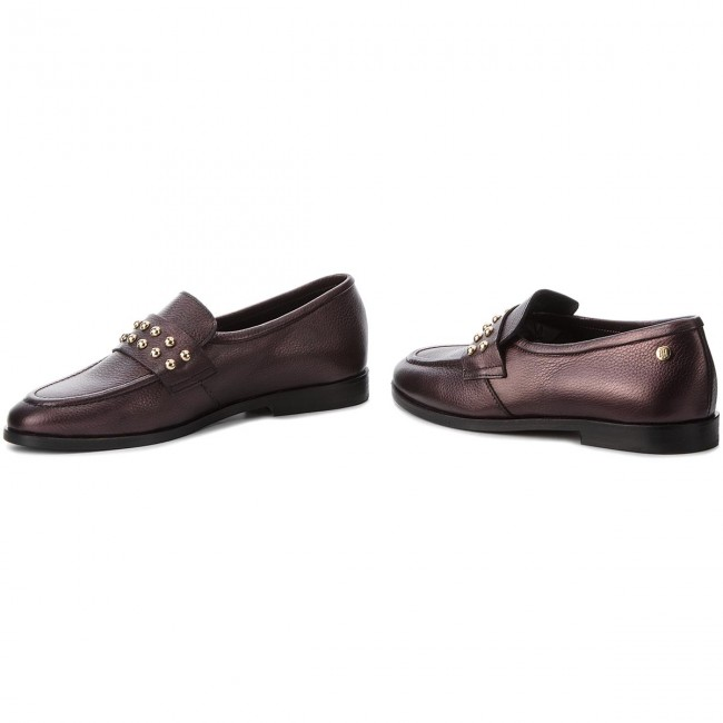 c931e0cad1411 Półbuty TOMMY HILFIGER - Round Stud Loafer FW0FW03576 Decadent Chocolate 296