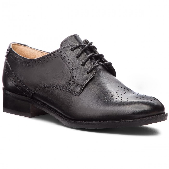 Oxfordy CLARKS - Netley Rose 261387714 Black Leather - Oxfordy - Półbuty - Damskie
