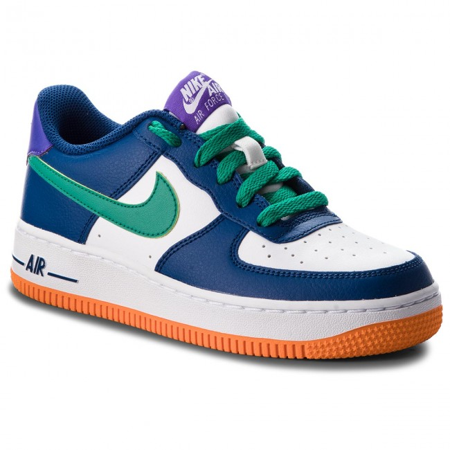 Buty NIKE Air Force 1 1 1 GS 596728 407 Gym Blå Neptune Grøn Hvid a64f32