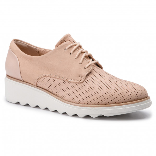 Oxfordy CLARKS - Sharon Crystal 261406424 Blush Nubuck - Oxfordy - Półbuty - Damskie