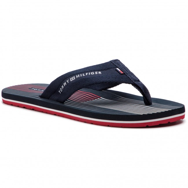 03a4be783 Japonki TOMMY HILFIGER - Striped Footbed Beach Sandal FM0FM01933 Midnight  403