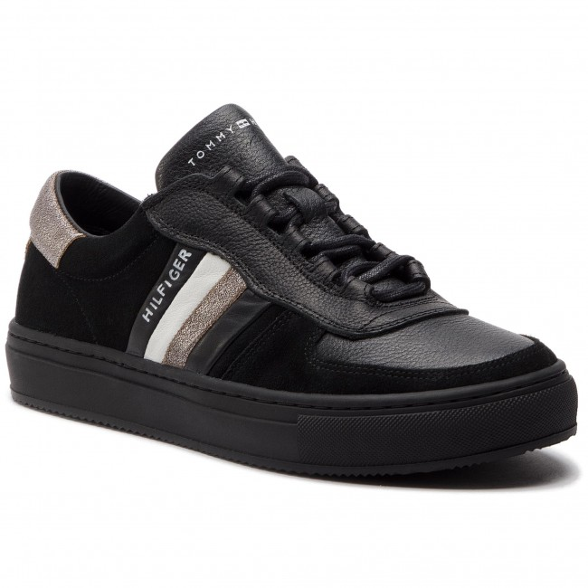 270fb6348f397 Sneakersy TOMMY HILFIGER - Leather Mix Corporate Sneaker FM0FM02022 Black  990
