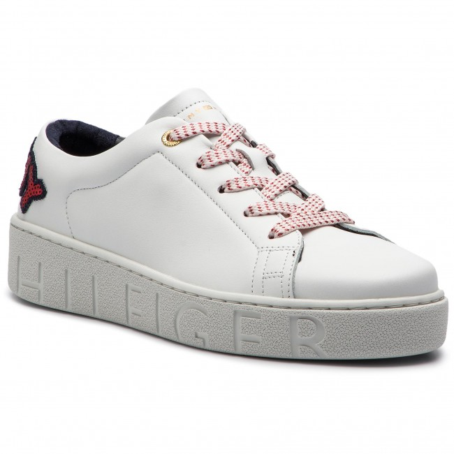 7a2bbd0858450 Sneakersy TOMMY HILFIGER - Tommy Fashion Sneaker FW0FW03689 White 100