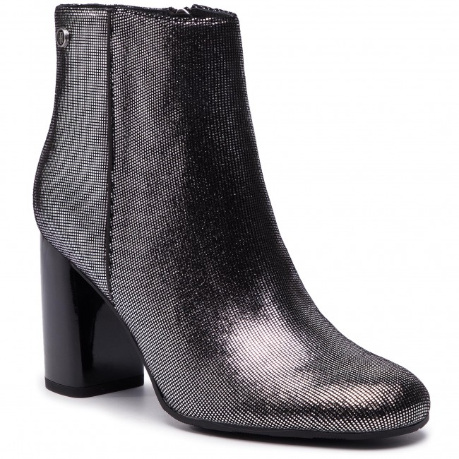 9d99ace51e60b Botki TOMMY HILFIGER - Shiny Metallic Suede Bootie FW0FW03695 Dark Silver  015