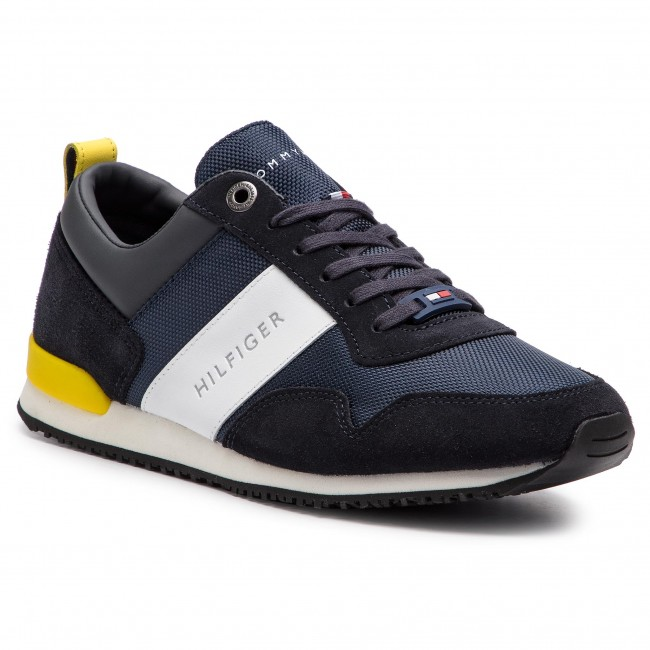 66f4e9d7da581 Sneakersy TOMMY HILFIGER - Iconic Material Mix Runner FM0FM02042 Midnight  403