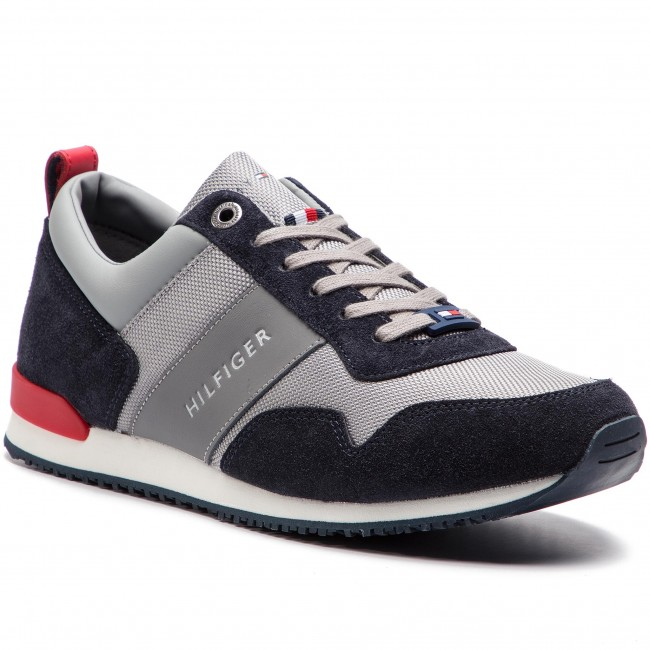 7ce2b0c75c858 Sneakersy TOMMY HILFIGER - Iconic Material Mix Runner FM0FM02042  Midnight Light Grey Tango Red