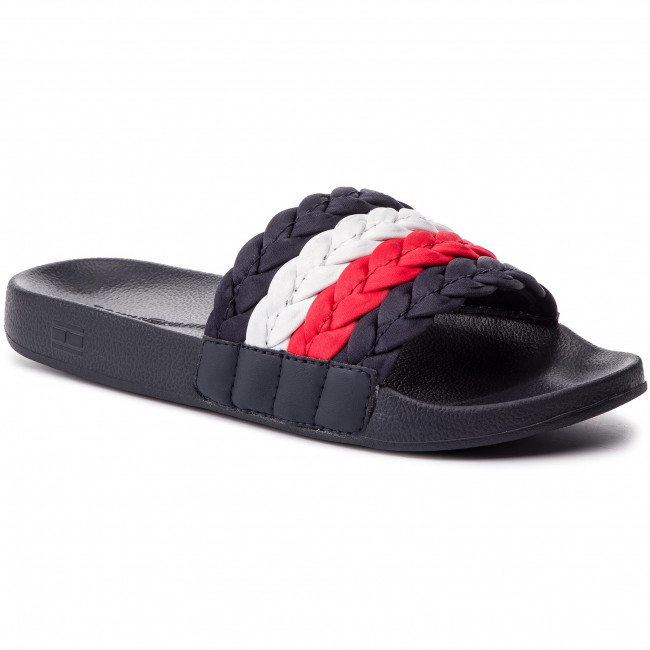 cc90c1ee497c3 Klapki TOMMY HILFIGER - Corporate Hilfiger Pool Slide FW0FW03861 Midnight  403