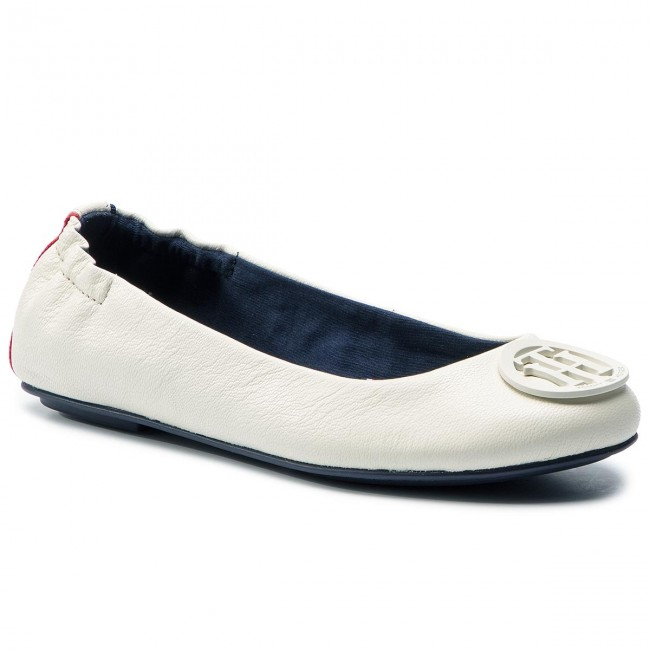 1f8e459dea39f Baleriny TOMMY HILFIGER - Flexible Leather Ballerina FW0FW04073 Whisper  White 121
