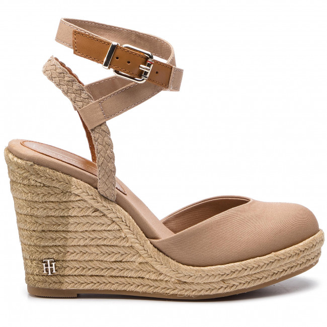 6e865c9929e76 Espadryle TOMMY HILFIGER - Printed Closed Toe Wedge Sandal FW0FW03932  Cobblestone 068