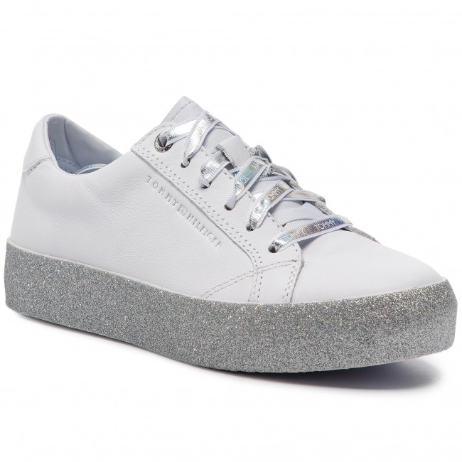 5e77d8bc834c8 Sneakersy TOMMY HILFIGER - Glitter Dress Sneaker FW0FW03962 Whithe 100