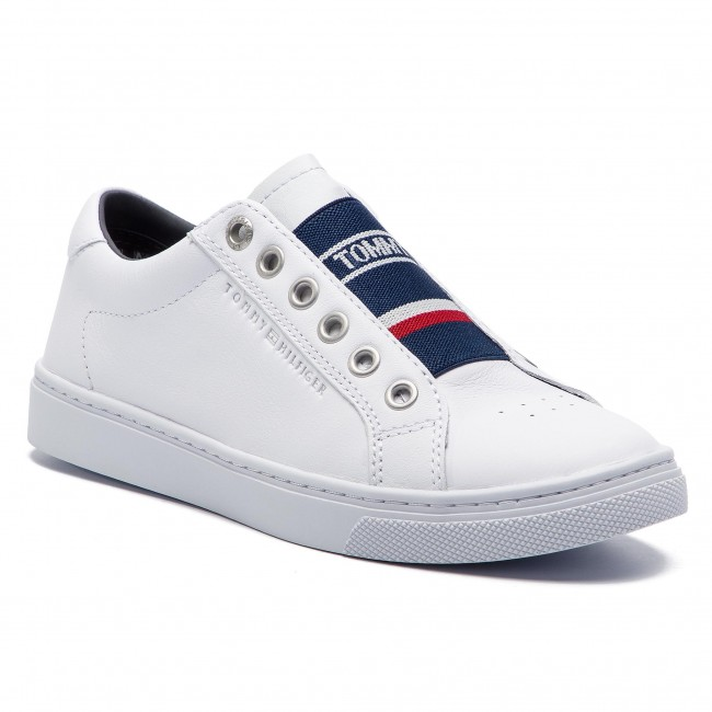 e9894c14519bd Sneakersy TOMMY HILFIGER - Tommy Elastic City Sneaker FW0FW04019 White 100