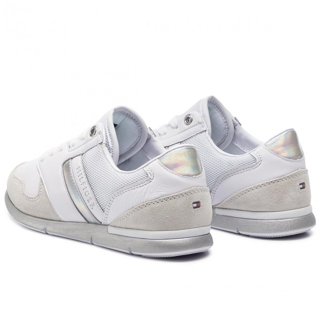 95ed988abc2cd Sneakersy TOMMY HILFIGER - Iridescent Light Sneaker FW0FW04100 White/Silver  902