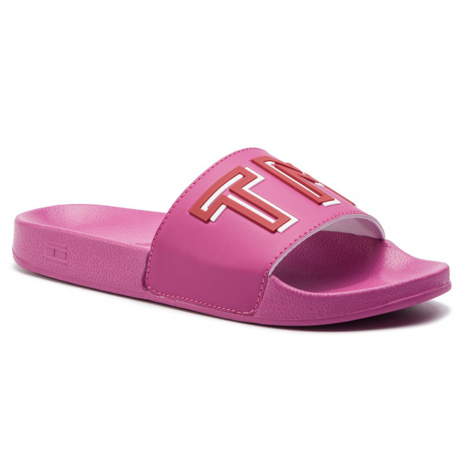 1b358cf259fb1 Klapki TOMMY HILFIGER - Colorful Tommy Pool Slide FW0FW04239 Fuchsia Red 521