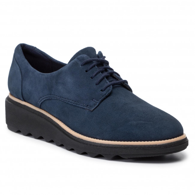 Oxfordy CLARKS - Sharon Noel 261457194  Navy Suede - Oxfordy - Półbuty - Damskie