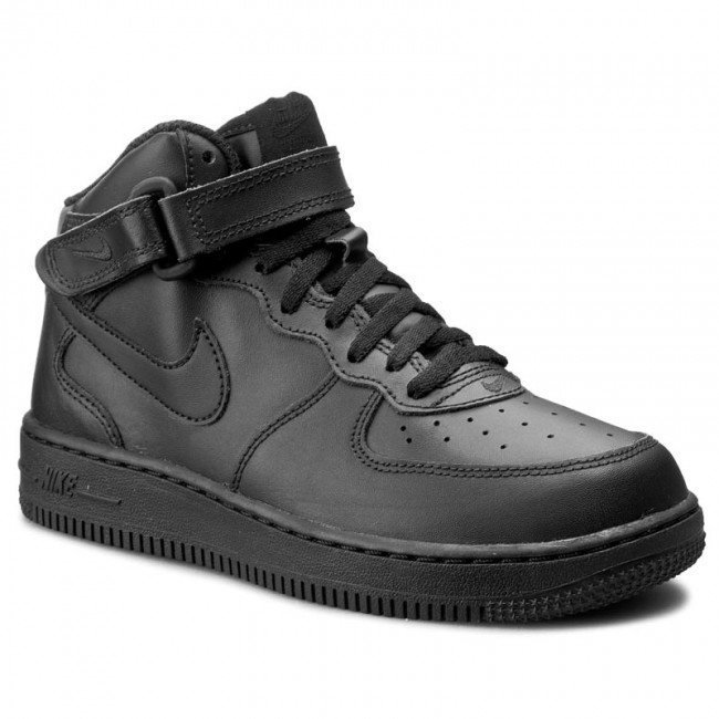 Buty NIKE - Force 1 Mid (PS) 314196 004 Black/Black