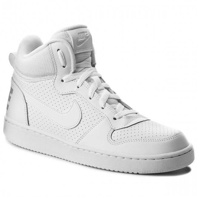 Buty NIKE - Court Borough Mid (GS) 839977 100 White/White/White