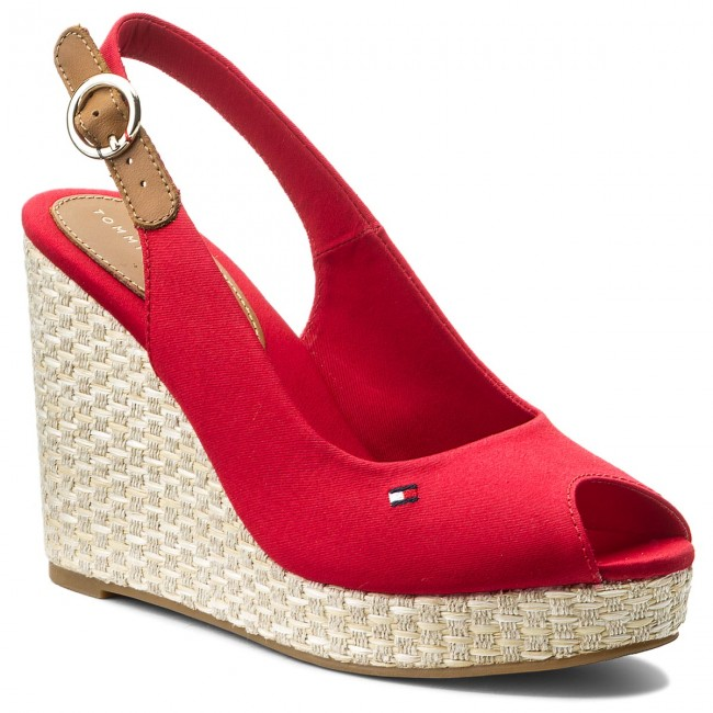82e6a61f709 Espadrilės TOMMY HILFIGER - Iconic Elena Basic Sling Back FW0FW02787 Tango  Red 611