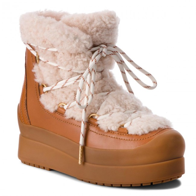 Buty TORY BURCH - Courtney 60Mm Shearling Boot 50059 Natural/Tan 276