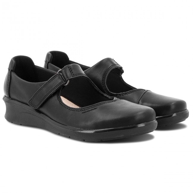PÓłbuty CLARKS - Hope Henley 261371854 Black Leather - Płaskie - PÓłbuty - Damskie CVTIUY1