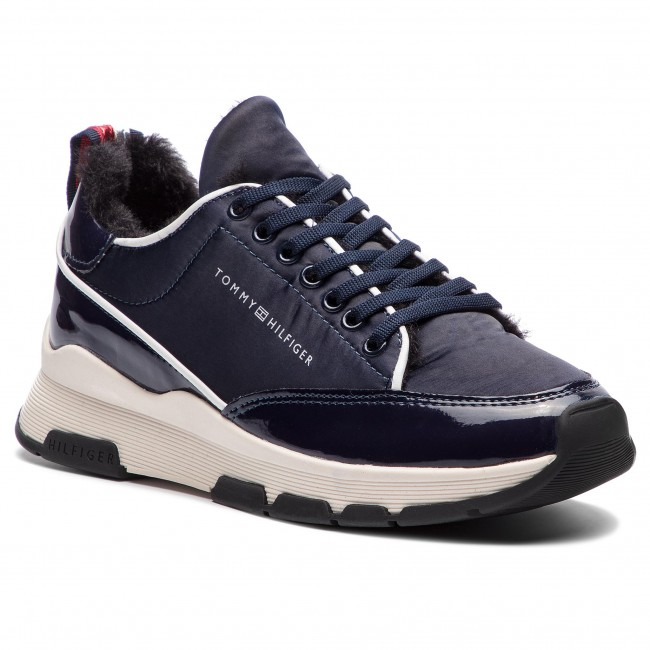 Sneakersy TOMMY HILFIGER - Cool Technical Satin Sneaker FW0FW03970  Midnight 403