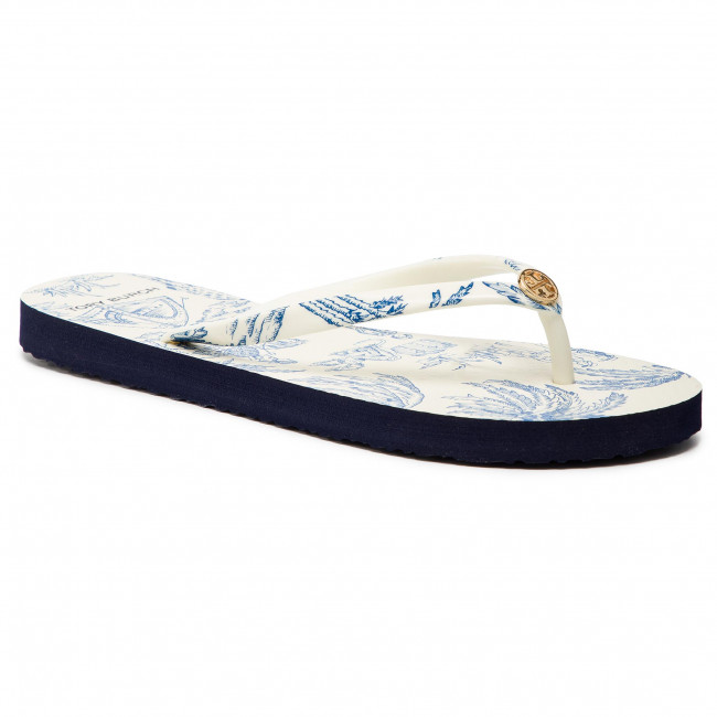 Japonki TORY BURCH - Printed Thin Flip Flop 56487 Ivory Far And Away 415