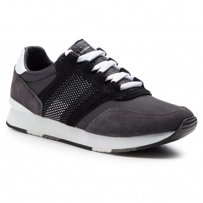Sneakersy TOMMY HILFIGER - Corporate Material Mix Runner FM0FM02056 Black 990