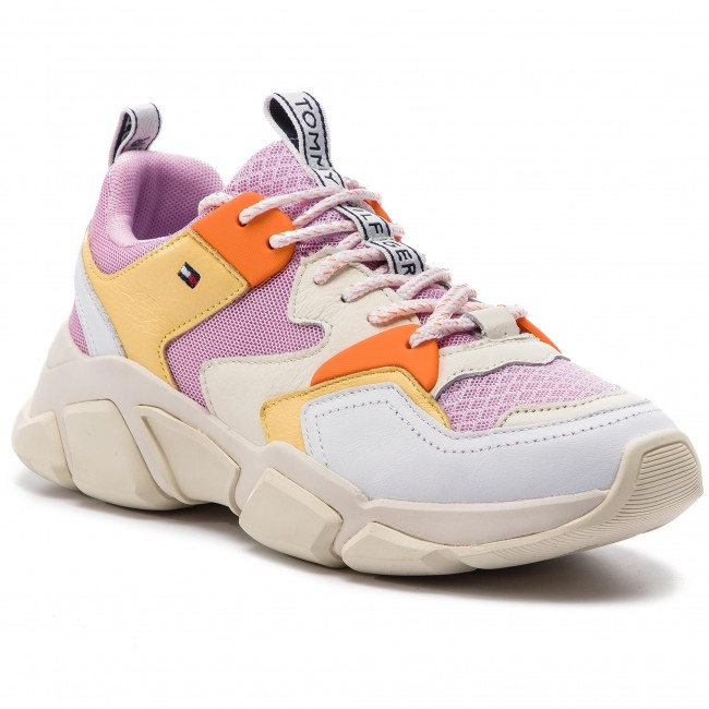Sneakersy TOMMY HILFIGER - Chunky Mixed Textile Trainer FW0FW04065 Pink Lavender 518