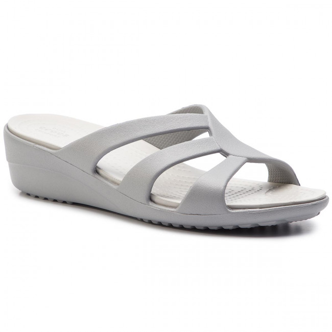 d27236a7b32bf4 Шльопанці CROCS - Sanrah Strappy Wedge 204010 Silver/Pearl White ...