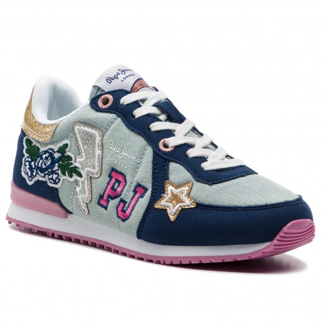 Sneakersy PEPE JEANS - Sydney Patches PGS30392 Denim 000