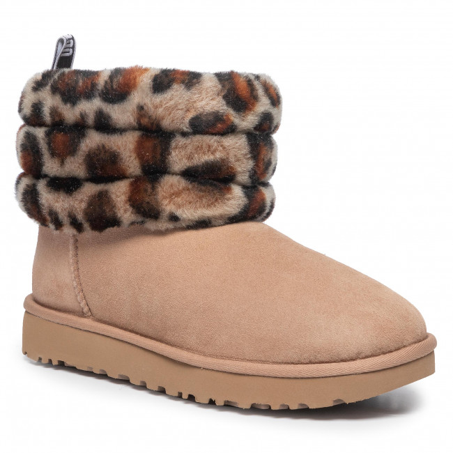 Buty UGG - W Fluff Mini Quilted Leopard 1105358 Amp